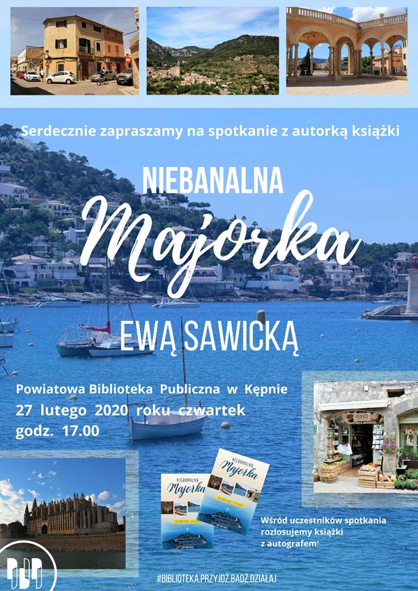 plakat spotkania autorskiego z Ewą Sawicką
